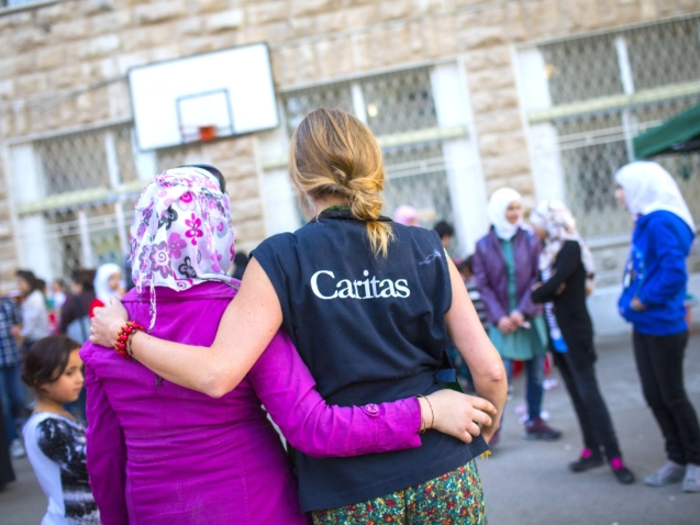 Young Syrian refugees take part in a fun day at the Latin School in Zarqa, Jordan.  Catholic Relief Services is supporting Caritas Jordan to help more than 140,000 Syrian refugees across the country. This help includes essential living items, food, medical assistance, hygiene, education for children and trauma counseling.
